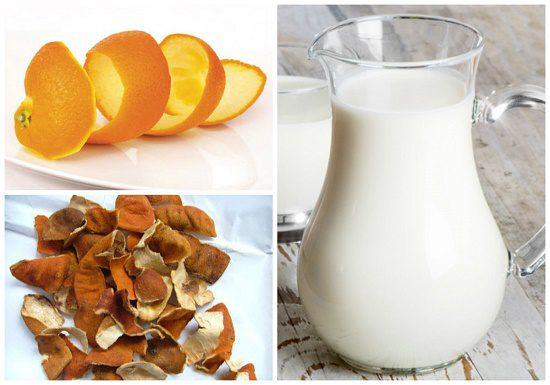 Kem dưỡng trắng da từ sữa tươi + chanh + vỏ cam